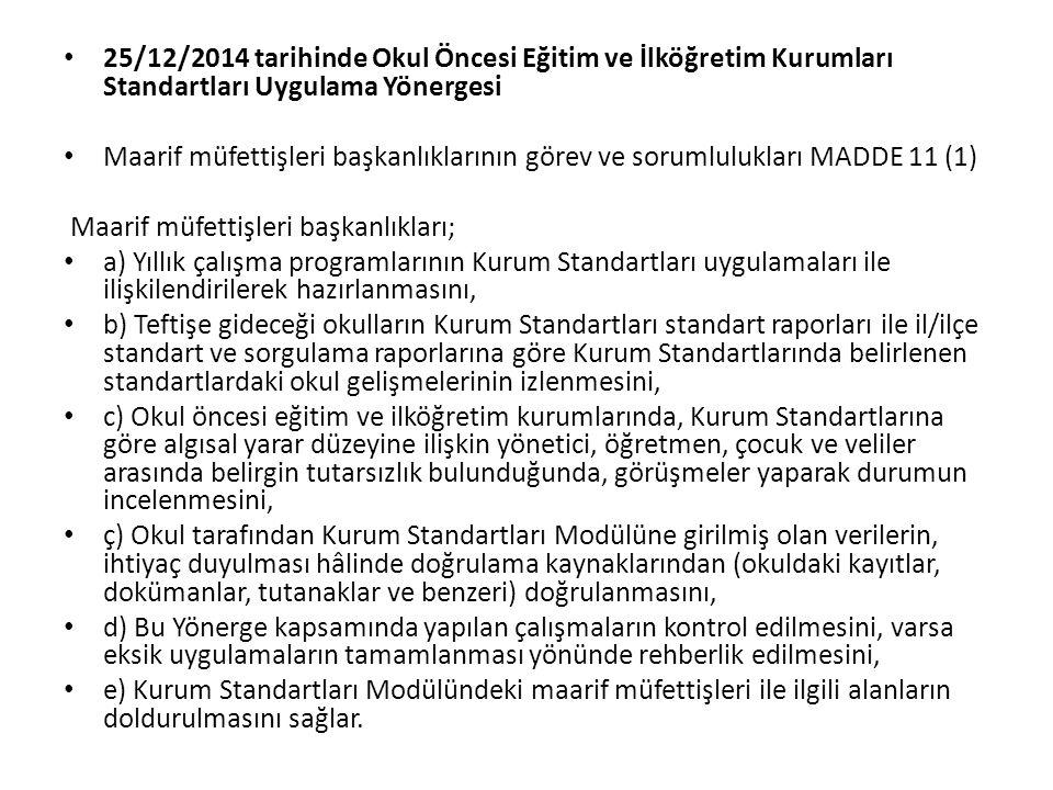 25/12/2014 tarihinde Okul Öncesi Eğitim ve İlköğretim Kurumları Standartları Uygulama Yönergesi