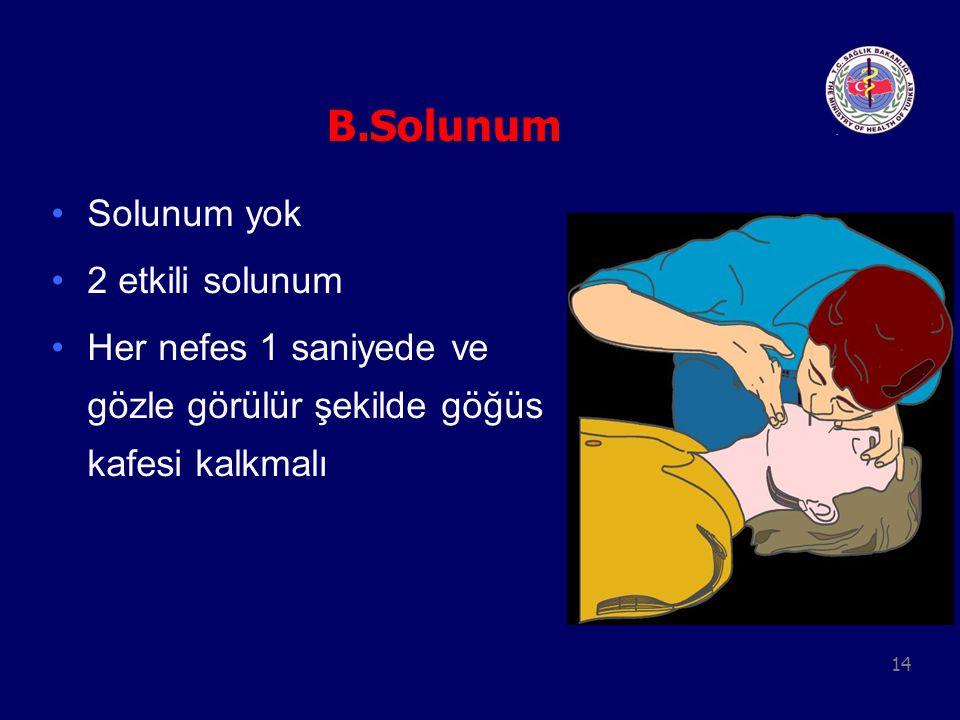 B.Solunum Solunum yok 2 etkili solunum