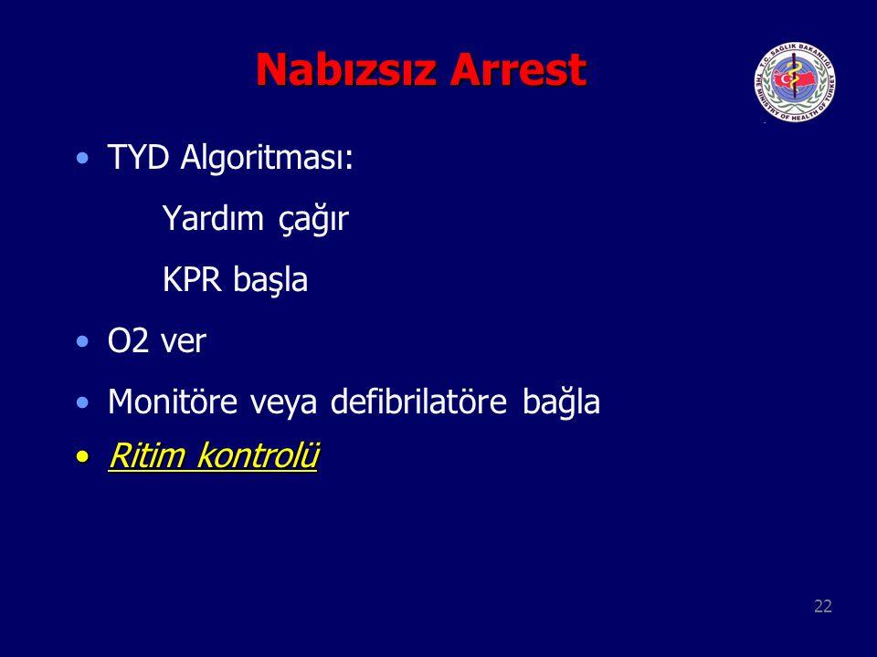 Nabızsız Arrest TYD Algoritması: Yardım çağır KPR başla O2 ver