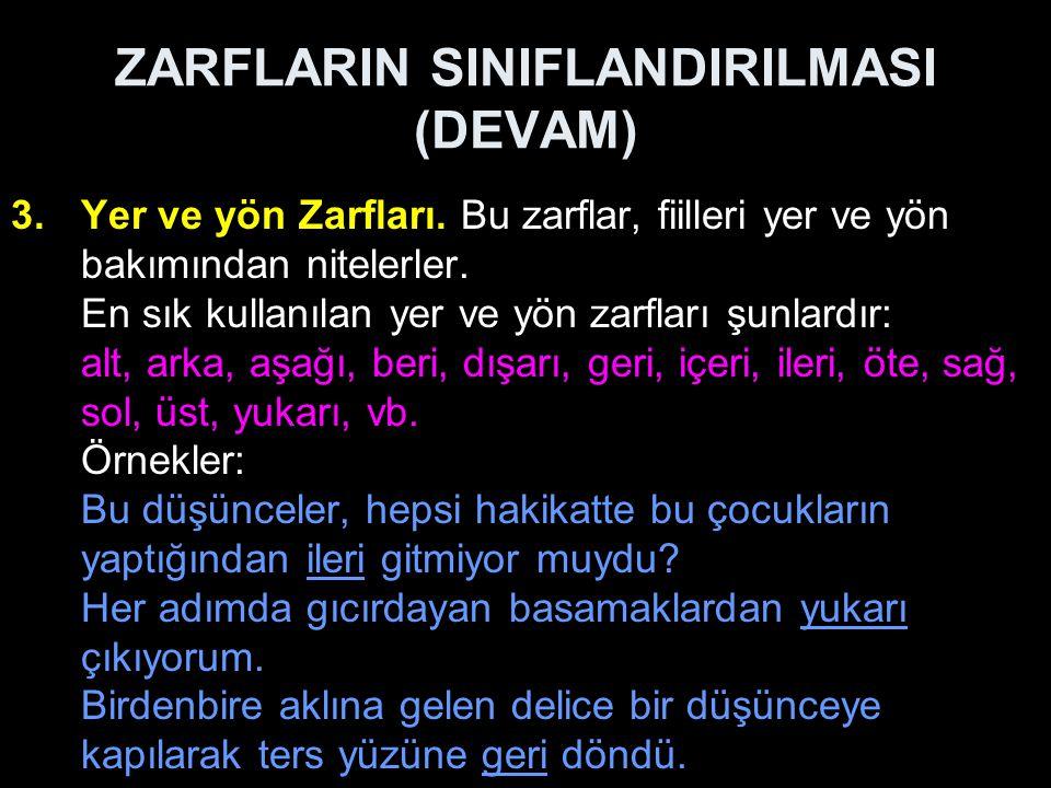 ZARFLARIN SINIFLANDIRILMASI (DEVAM)