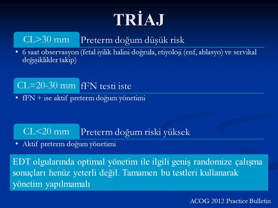 TRİAJ CL>30 mm Preterm doğum düşük risk CL=20-30 mm fFN testi iste