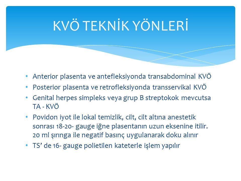 KVÖ TEKNİK YÖNLERİ Anterior plasenta ve antefleksiyonda transabdominal KVÖ. Posterior plasenta ve retrofleksiyonda transservikal KVÖ.