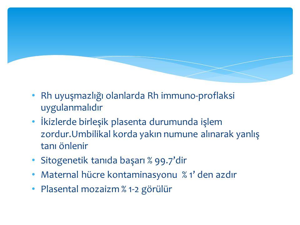 Rh uyuşmazlığı olanlarda Rh immuno-proflaksi uygulanmalıdır