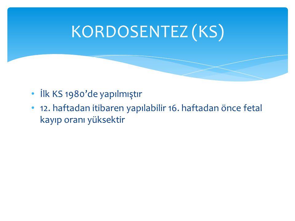 KORDOSENTEZ (KS) İlk KS 1980'de yapılmıştır