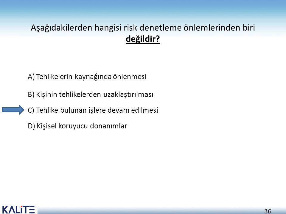 Aşağıdakilerden hangisi risk denetleme önlemlerinden biri değildir