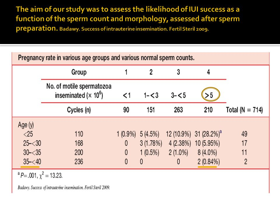 The aim of our study was to assess the likelihood of IUI success as a function of the sperm count and morphology, assessed after sperm preparation.