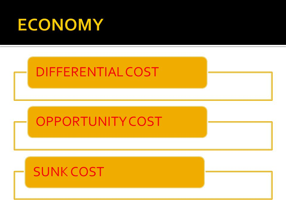 ECONOMY DIFFERENTIAL COST OPPORTUNITY COST SUNK COST