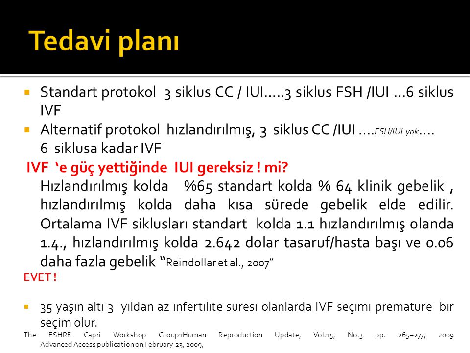 Tedavi planı Standart protokol 3 siklus CC / IUI…..3 siklus FSH /IUI …6 siklus IVF.