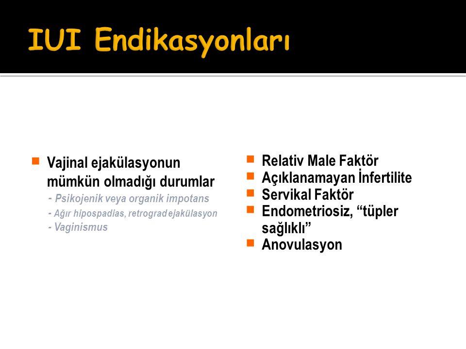 IUI Endikasyonları Vajinal ejakülasyonun mümkün olmadığı durumlar