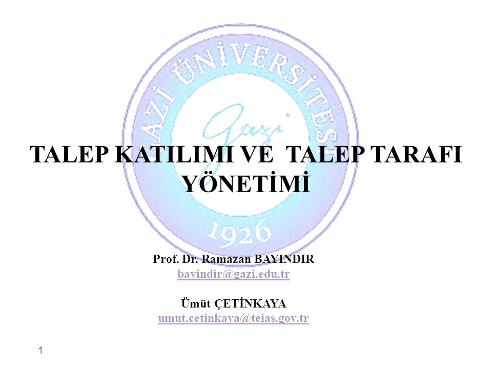 TALEP KATILIMI VE TALEP TARAFI YÖNETİMİ Prof. Dr. Ramazan BAYINDIR