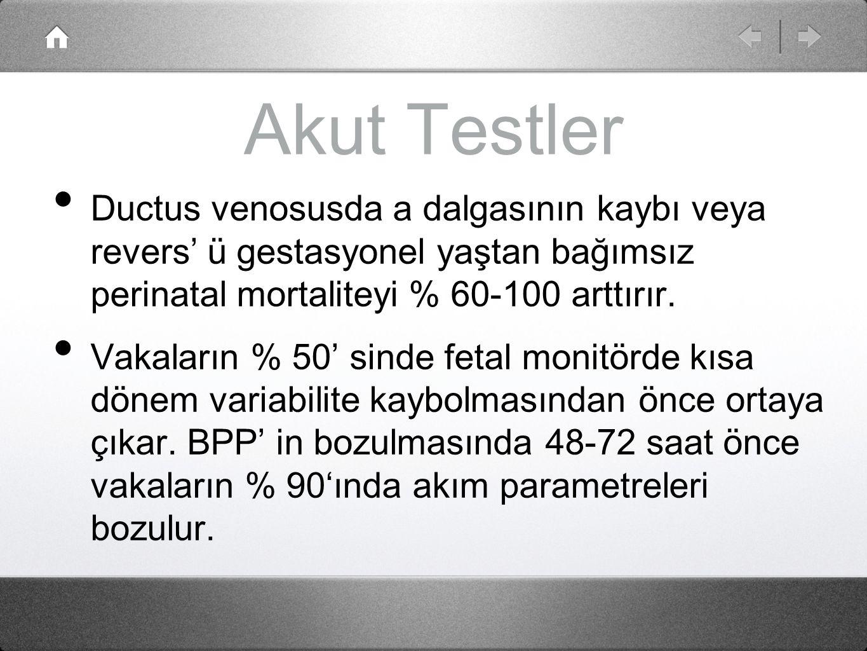 Akut Testler Ductus venosusda a dalgasının kaybı veya revers' ü gestasyonel yaştan bağımsız perinatal mortaliteyi % 60-100 arttırır.
