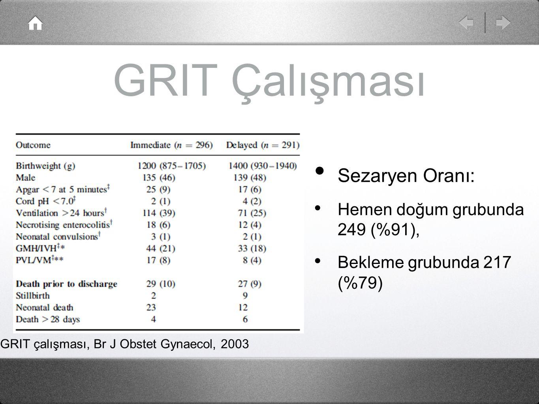GRIT Çalışması Sezaryen Oranı: Hemen doğum grubunda 249 (%91),
