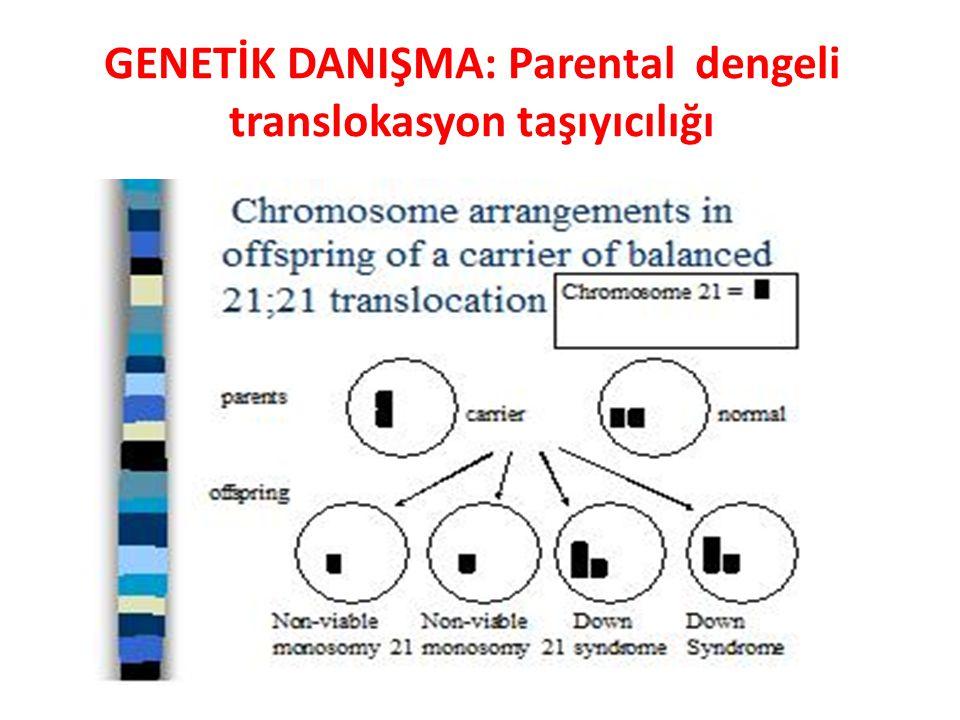 GENETİK DANIŞMA: Parental dengeli translokasyon taşıyıcılığı