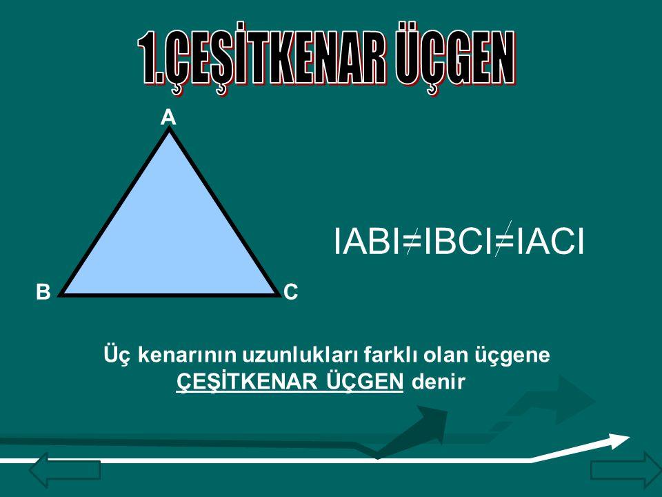 IABI=IBCI=IACI 1.ÇEŞİTKENAR ÜÇGEN A B C
