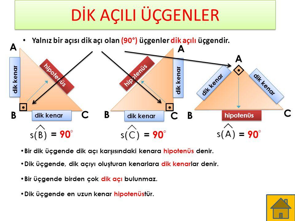 DİK AÇILI ÜÇGENLER A A A B C B C C B = 90° = 90° = 90°