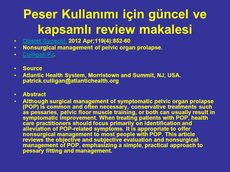 Peser Kullanımı için güncel ve kapsamlı review makalesi