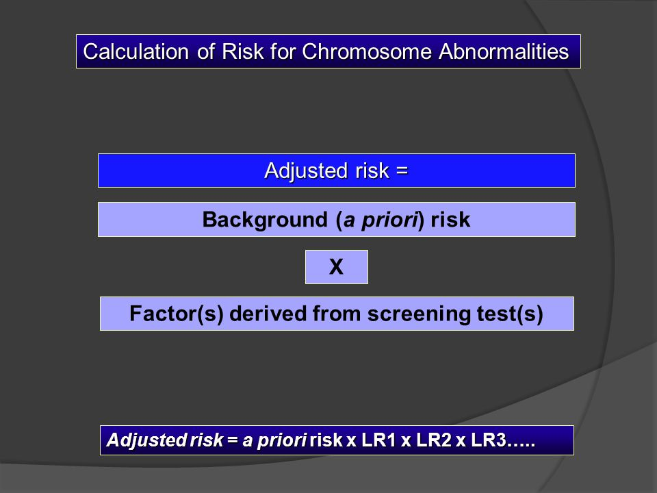 Background (a priori) risk Factor(s) derived from screening test(s)