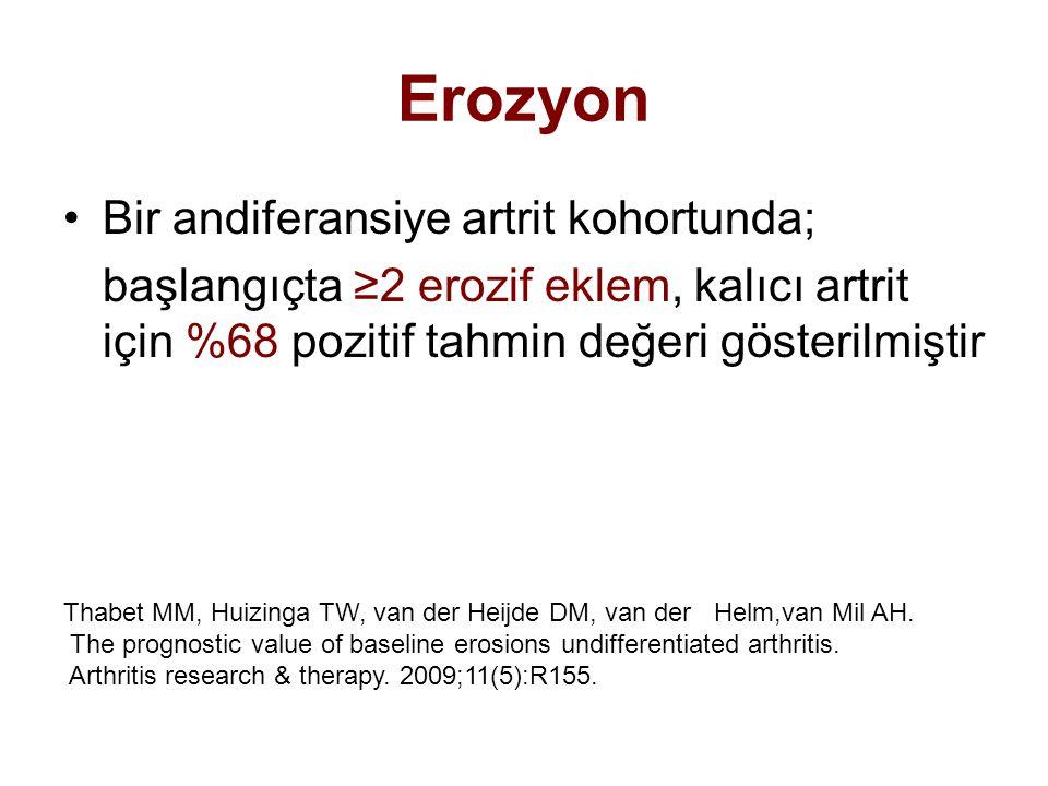 Erozyon Bir andiferansiye artrit kohortunda;