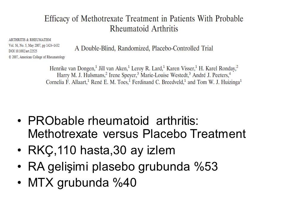 PRObable rheumatoid arthritis: Methotrexate versus Placebo Treatment