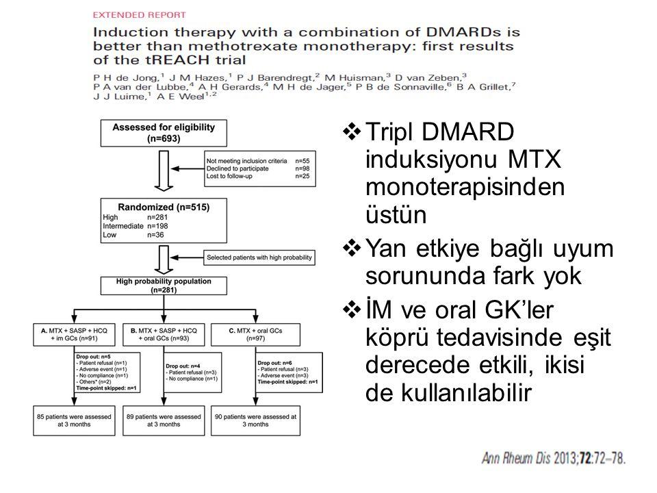 Tripl DMARD induksiyonu MTX monoterapisinden üstün