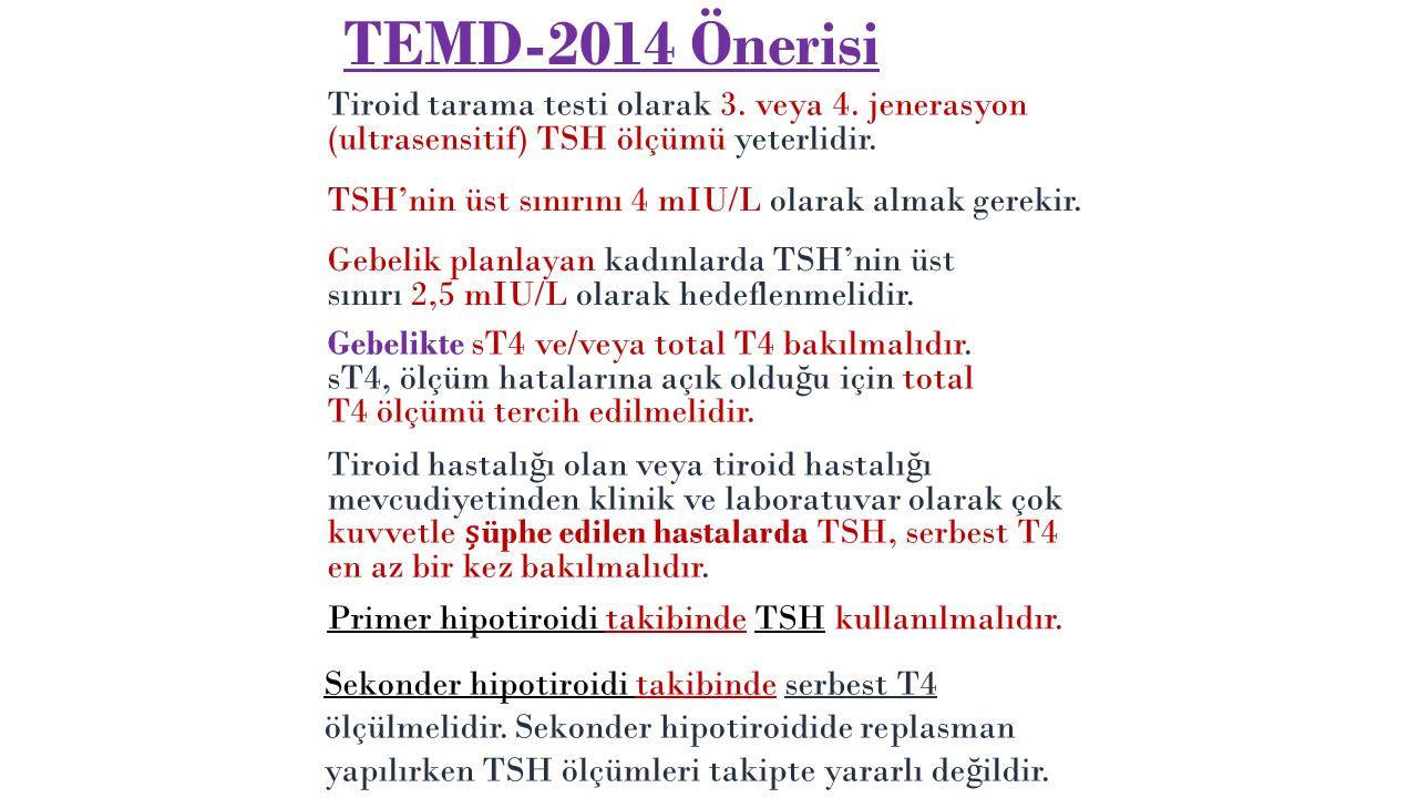 TEMD-2014 Önerisi Tiroid tarama testi olarak 3. veya 4. jenerasyon (ultrasensitif) TSH ölçümü yeterlidir.