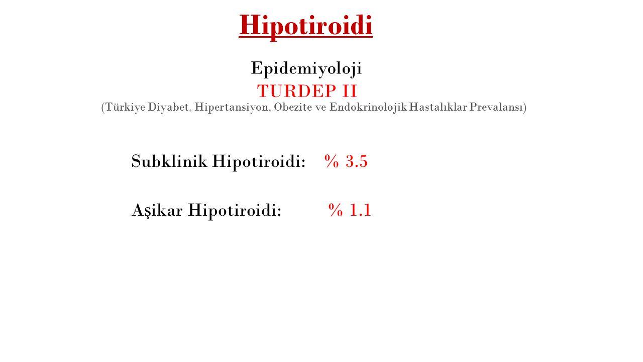Hipotiroidi Epidemiyoloji TURDEP II Subklinik Hipotiroidi: % 3.5