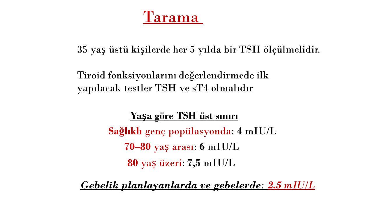 Tarama 35 yaș üstü kișilerde her 5 yılda bir TSH ölçülmelidir.
