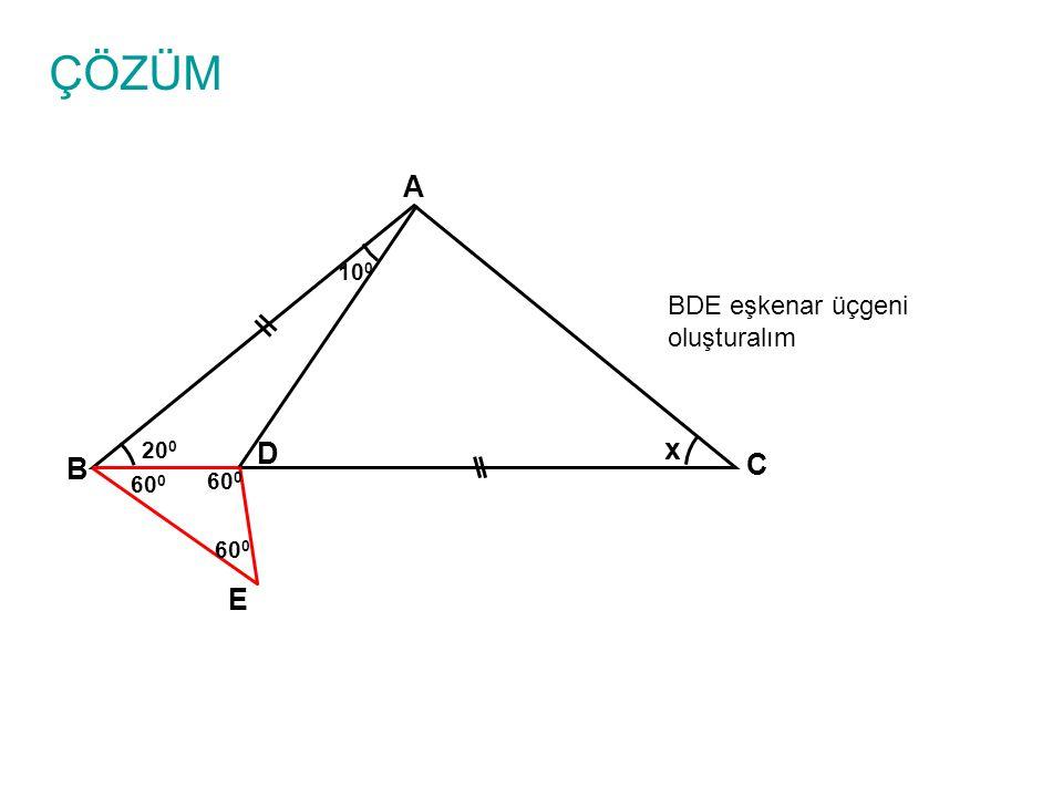 ÇÖZÜM A 100 BDE eşkenar üçgeni oluşturalım 200 D x B C 600 600 600 E
