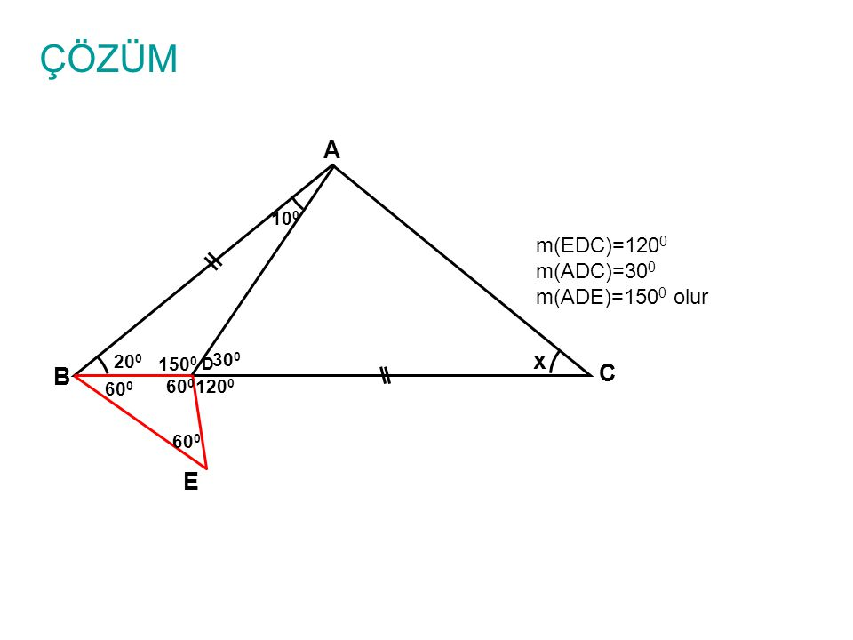 ÇÖZÜM A x C B E m(EDC)=1200 m(ADC)=300 m(ADE)=1500 olur 100 200 1500
