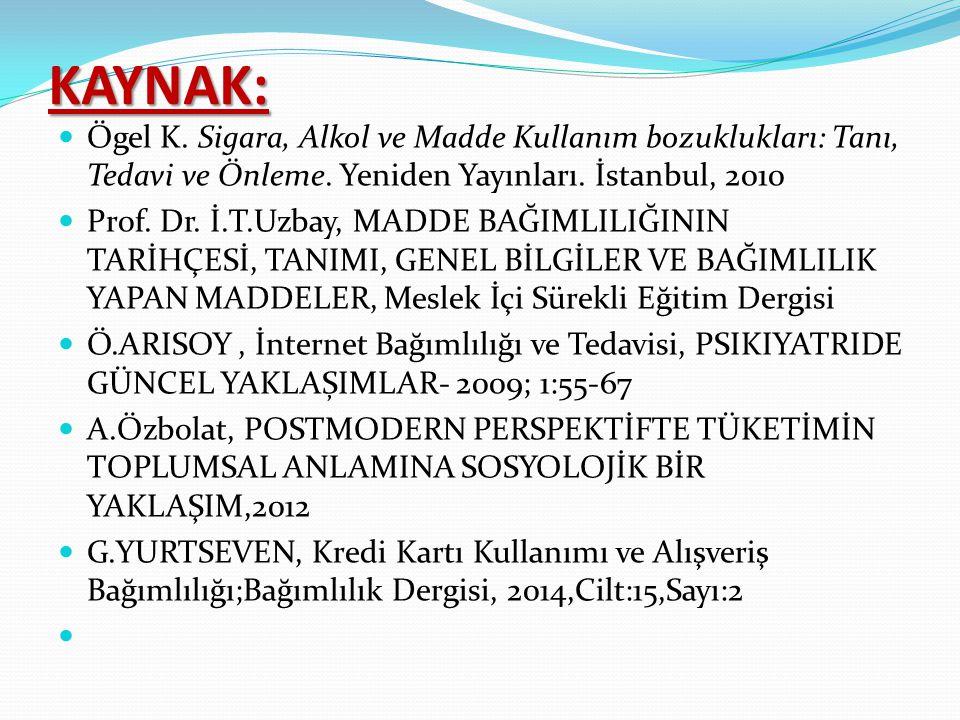 KAYNAK: Ögel K. Sigara, Alkol ve Madde Kullanım bozuklukları: Tanı, Tedavi ve Önleme. Yeniden Yayınları. İstanbul, 2010.
