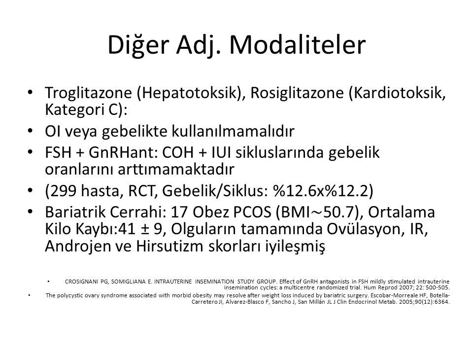 Diğer Adj. Modaliteler Troglitazone (Hepatotoksik), Rosiglitazone (Kardiotoksik, Kategori C): OI veya gebelikte kullanılmamalıdır.