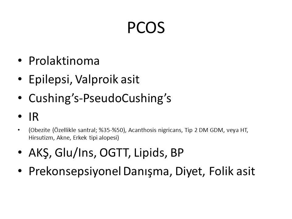 PCOS Prolaktinoma Epilepsi, Valproik asit Cushing's-PseudoCushing's IR