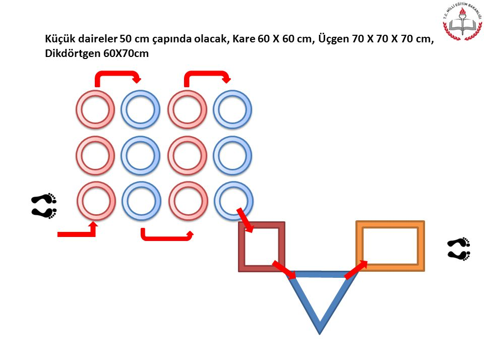 Küçük daireler 50 cm çapında olacak, Kare 60 X 60 cm, Üçgen 70 X 70 X 70 cm,