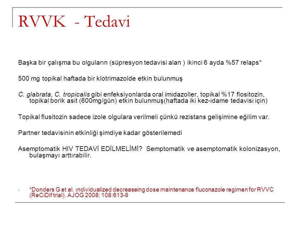 RVVK - Tedavi Başka bir çalışma bu olguların (süpresyon tedavisi alan ) ikinci 6 ayda %57 relaps*