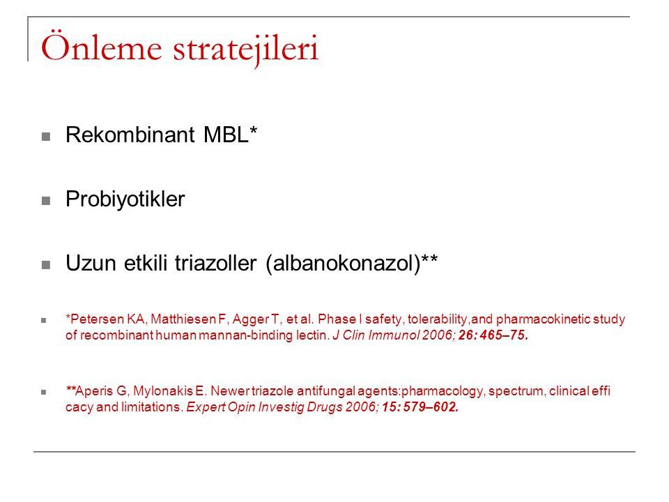 Önleme stratejileri Rekombinant MBL* Probiyotikler