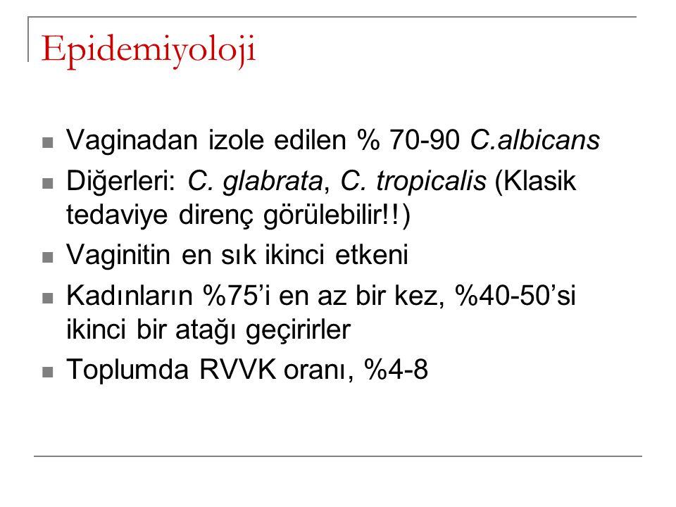 Epidemiyoloji Vaginadan izole edilen % 70-90 C.albicans