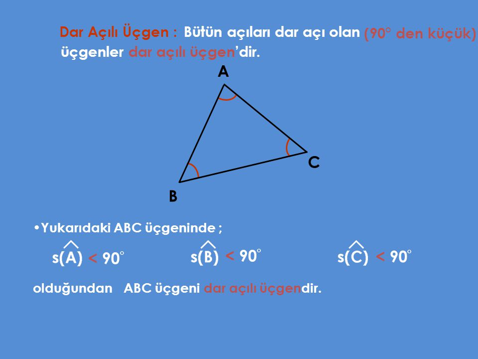 A C B < 90° < 90° < 90° Dar Açılı Üçgen :