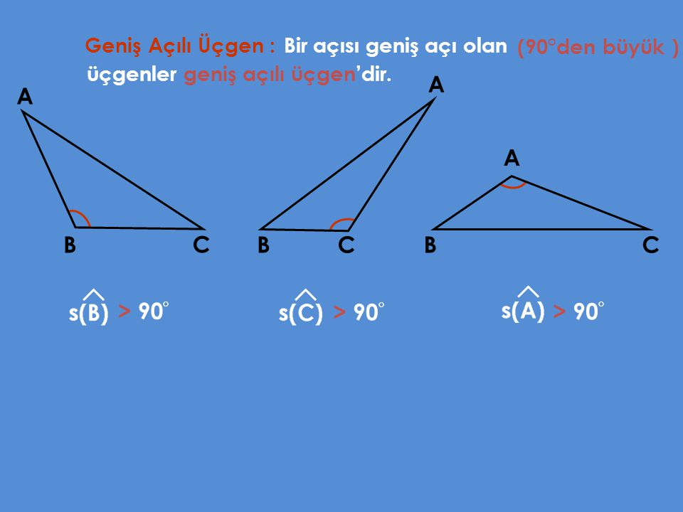 A A A B C B C B C > 90° > 90° > 90° Geniş Açılı Üçgen :