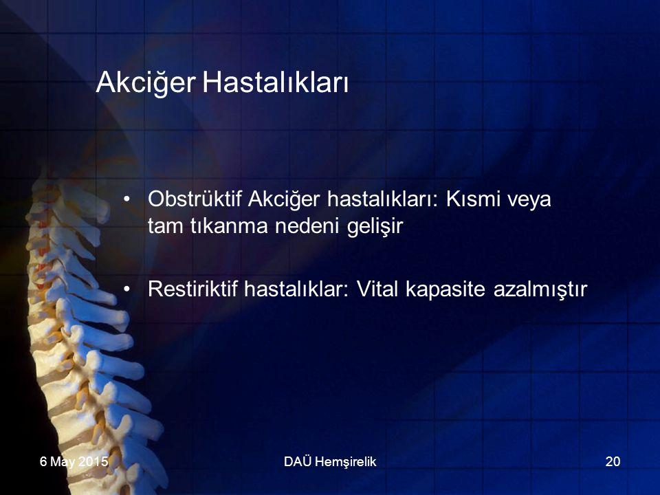 Akciğer Hastalıkları Obstrüktif Akciğer hastalıkları: Kısmi veya tam tıkanma nedeni gelişir. Restiriktif hastalıklar: Vital kapasite azalmıştır.