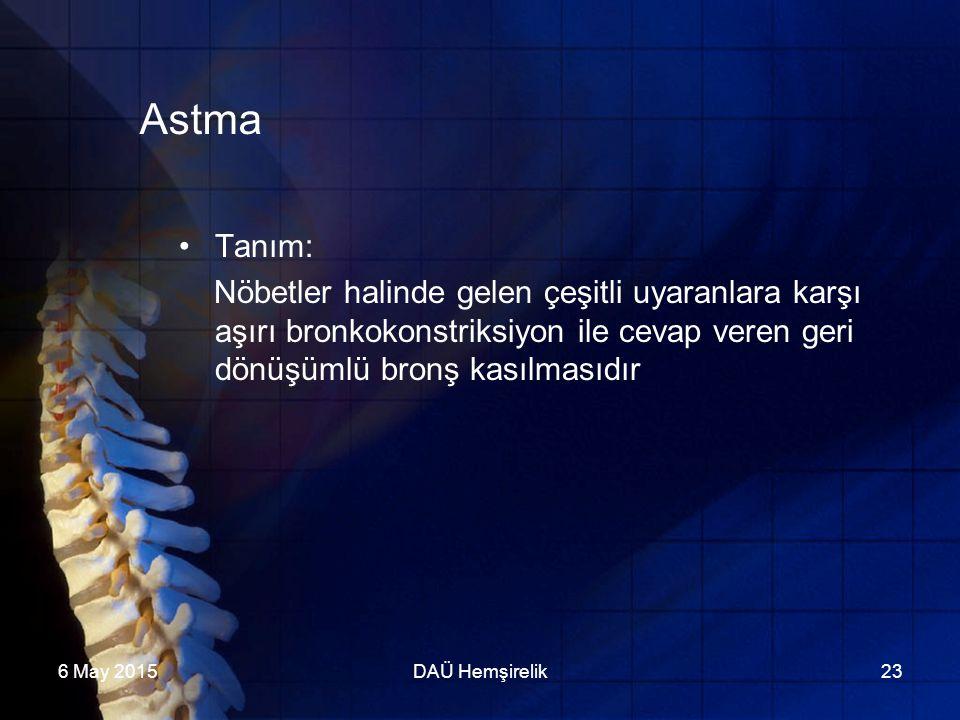 Astma Tanım: Nöbetler halinde gelen çeşitli uyaranlara karşı aşırı bronkokonstriksiyon ile cevap veren geri dönüşümlü bronş kasılmasıdır.