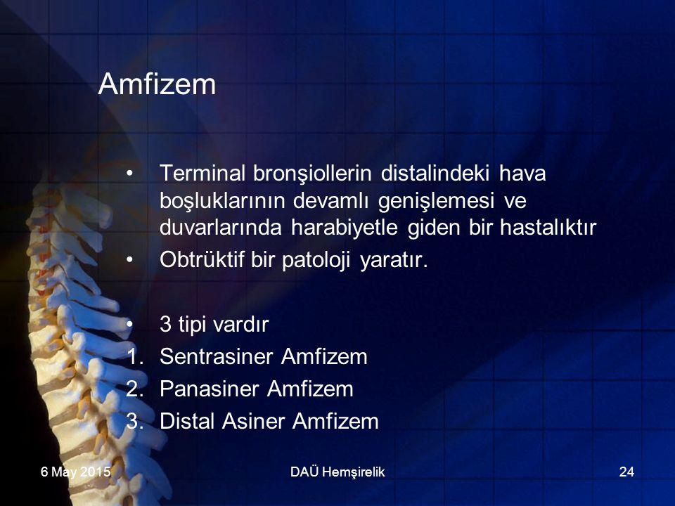 Amfizem Terminal bronşiollerin distalindeki hava boşluklarının devamlı genişlemesi ve duvarlarında harabiyetle giden bir hastalıktır.