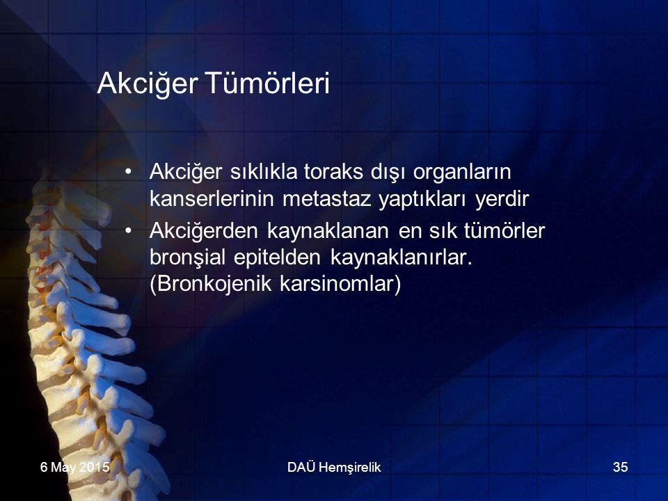 Akciğer Tümörleri Akciğer sıklıkla toraks dışı organların kanserlerinin metastaz yaptıkları yerdir.