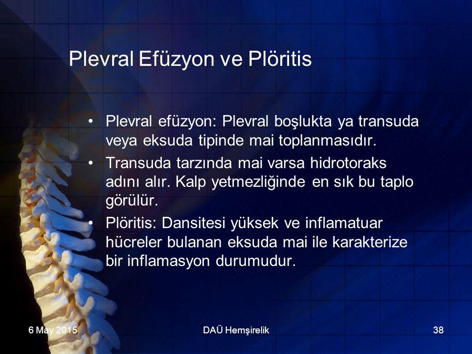 Plevral Efüzyon ve Plöritis