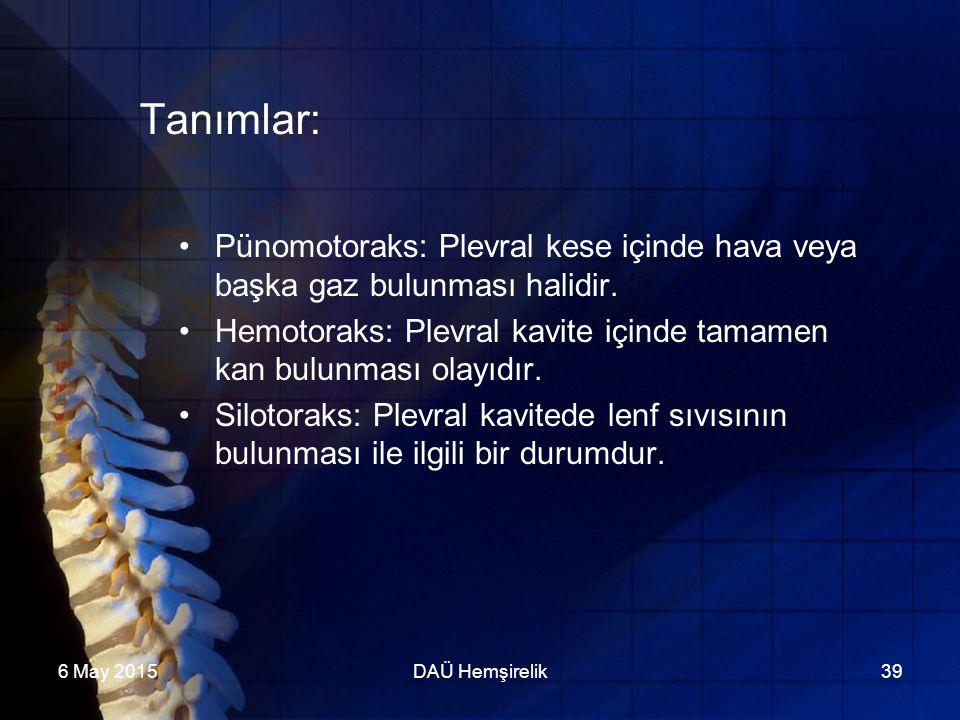 Tanımlar: Pünomotoraks: Plevral kese içinde hava veya başka gaz bulunması halidir. Hemotoraks: Plevral kavite içinde tamamen kan bulunması olayıdır.
