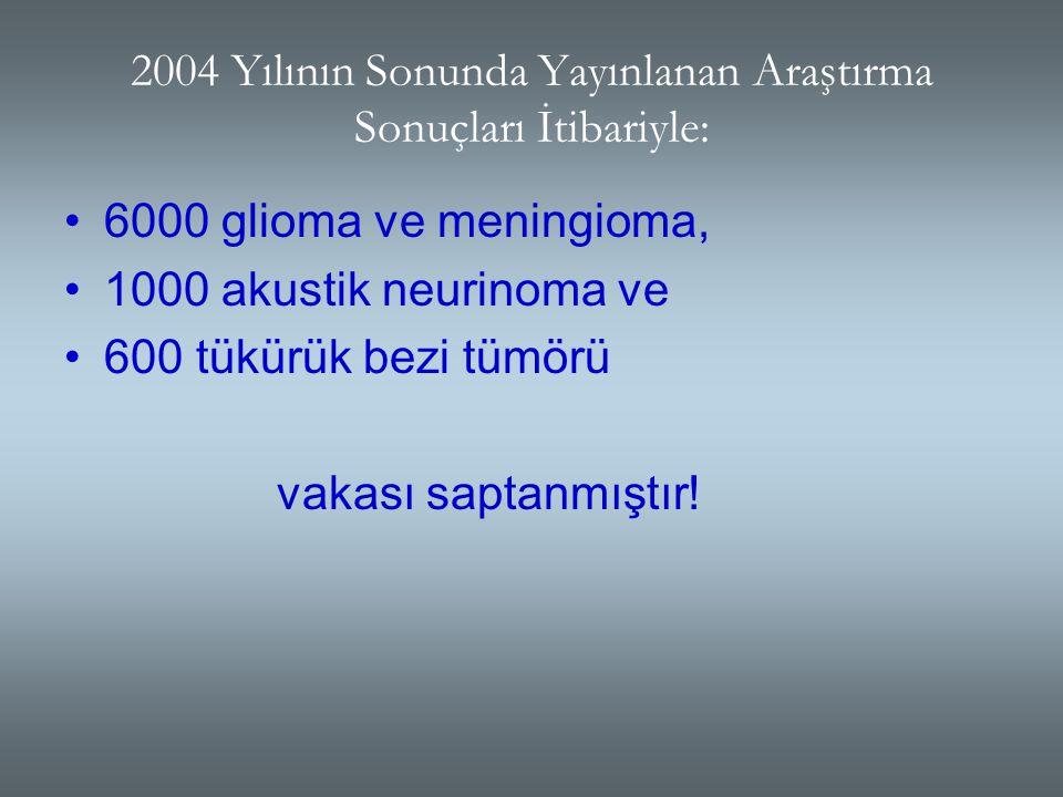 2004 Yılının Sonunda Yayınlanan Araştırma Sonuçları İtibariyle: