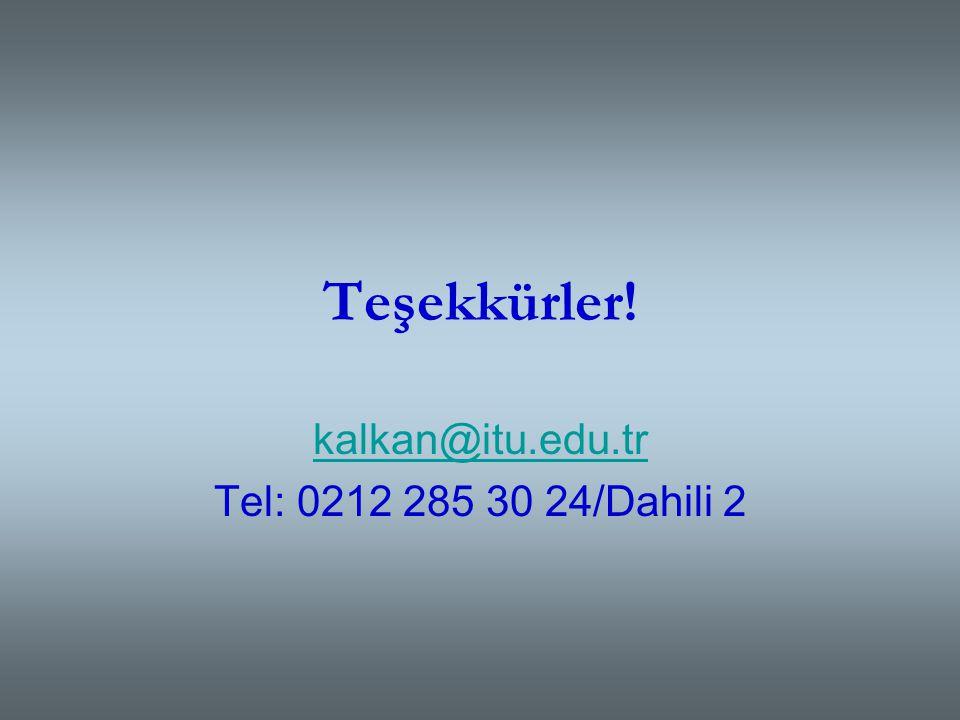 kalkan@itu.edu.tr Tel: 0212 285 30 24/Dahili 2