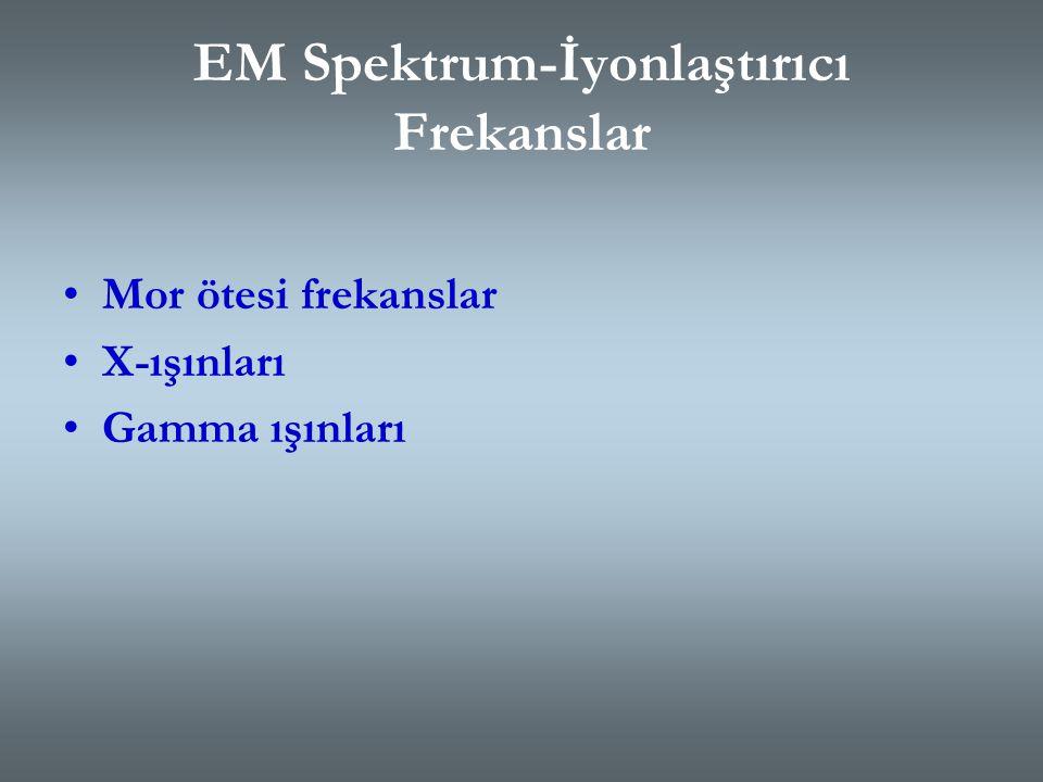 EM Spektrum-İyonlaştırıcı Frekanslar