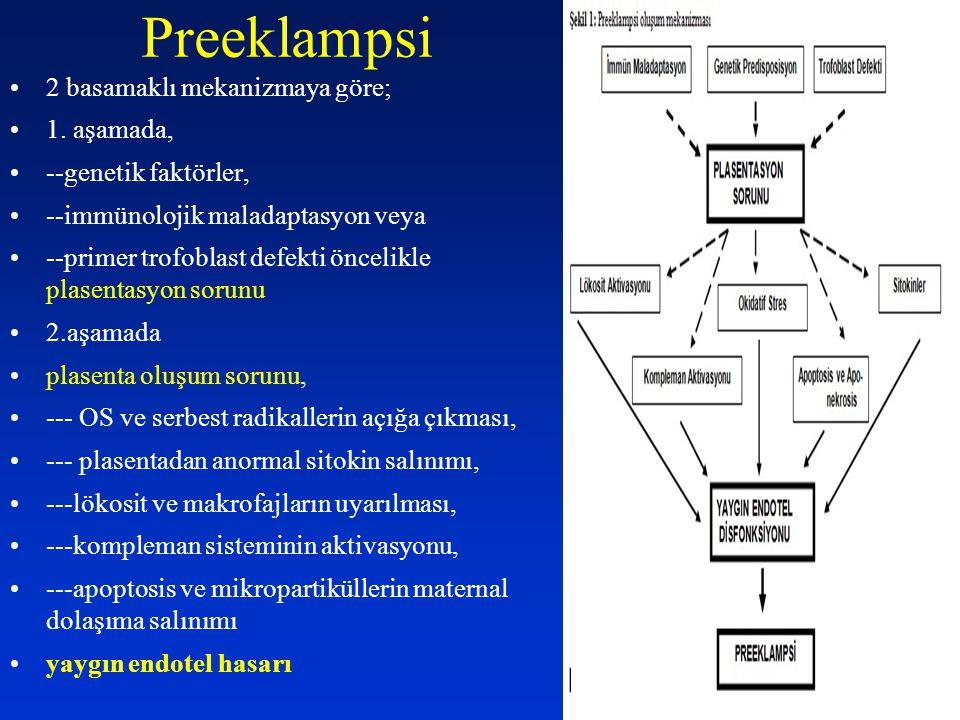 Preeklampsi 2 basamaklı mekanizmaya göre; 1. aşamada,