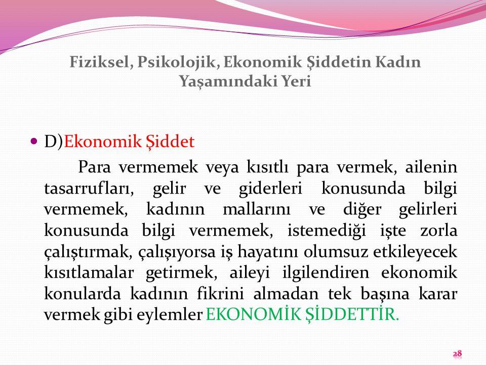 Fiziksel, Psikolojik, Ekonomik Şiddetin Kadın Yaşamındaki Yeri