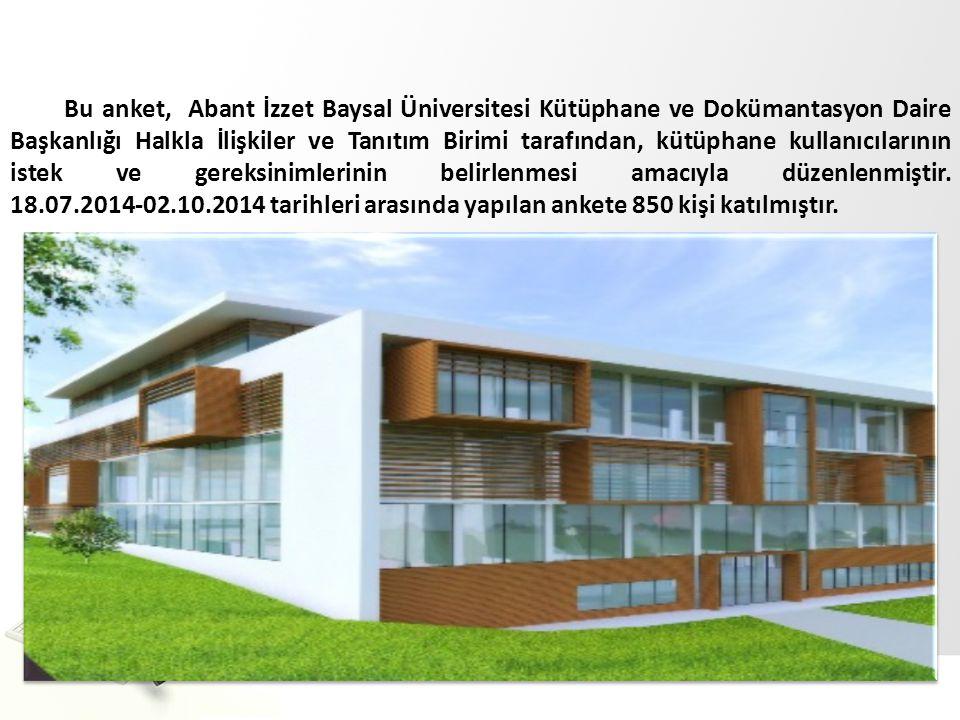 Bu anket, Abant İzzet Baysal Üniversitesi Kütüphane ve Dokümantasyon Daire Başkanlığı Halkla İlişkiler ve Tanıtım Birimi tarafından, kütüphane kullanıcılarının istek ve gereksinimlerinin belirlenmesi amacıyla düzenlenmiştir.